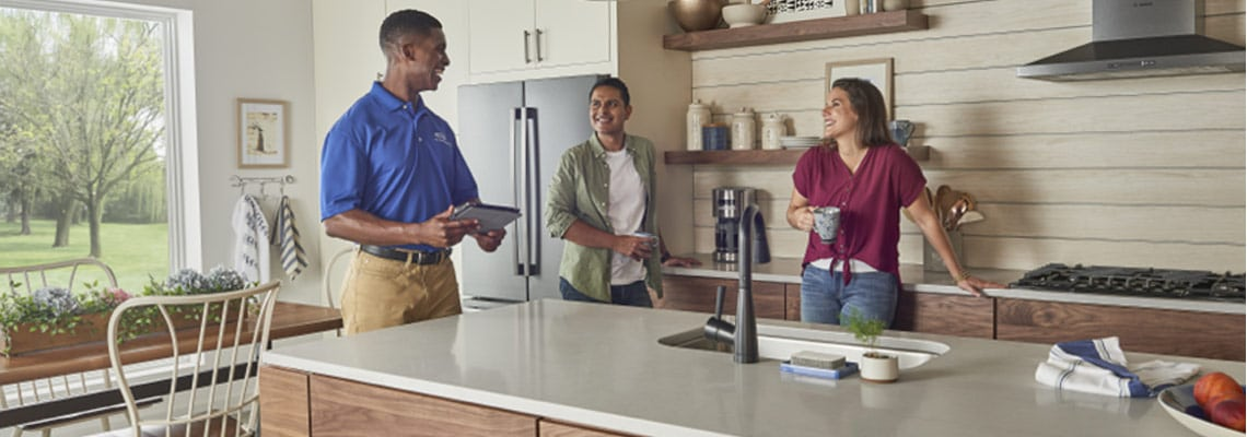Crystal Sales Rep talking with home owners