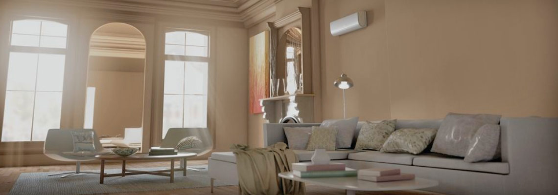 Ductless HVAC in Living Room